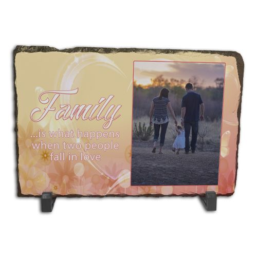 Personalised Family Is When Two People Fall In Love Rock Slate Photo Frame - Rectangle Large